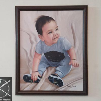 Cute boy oil painting
